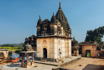 Abandoned Hindu temple in rural area near historical Orchha town