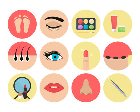 Set of beautician icons