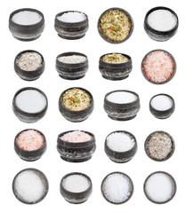 set of silver salt cellar with various salts