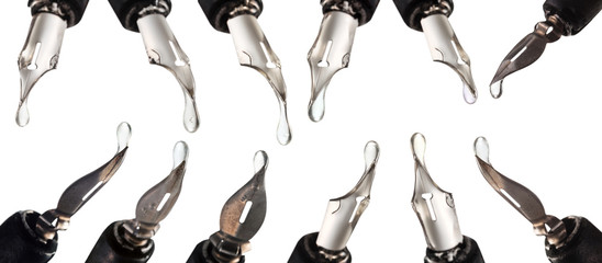 set from steel nibs with clear drops close up