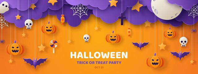 Halloween orange paper cut banner Fototapete