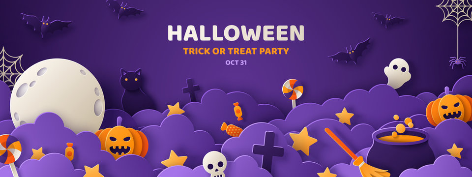 Halloween violet paper cut banner