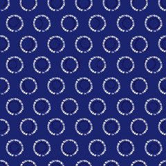 Vector blue shibori circle seamless pattern. Suitable for textile, gift wrap and wallpaper.