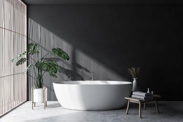 Gray and light wood bathroom interior with tub