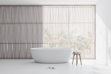 Light wooden and white bathroom with tub