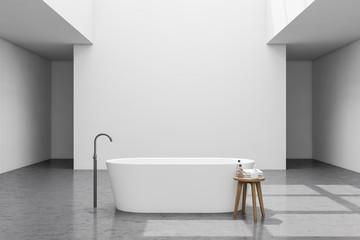 Spacious loft white bathroom interior