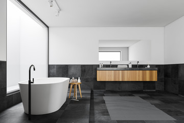 Side view of white and tile panoramic bathroom