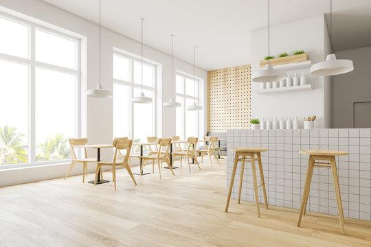 Minimalistic white and wooden bar corner