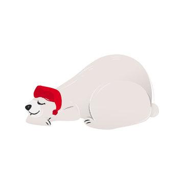 Polar white bear in the red Santa's hat cartoon flat vector illustration isolated.