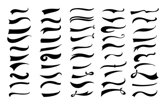 American vintage swoosh decoration set - retro swirl and wave lines for baseball lettering decoration