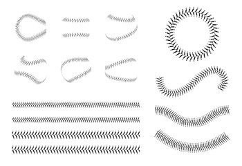Set of baseball lace or decorative baseball seam's brushes vector illustration.