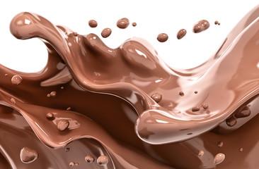 Splash chocolate isolated illustration 3d rendering