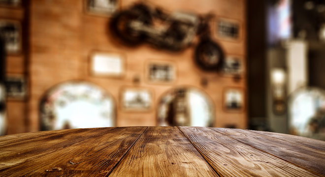 Table background with barber salon interior. Empty space for products and decoration.
