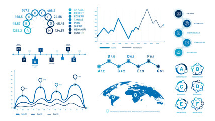 Wall Mural - Infographics graph charts. Histogram data graphs, bubbles graphic timeline chart and diagram. Statistic charts, progress data diagram presentations. Isolated vector illustration signs set