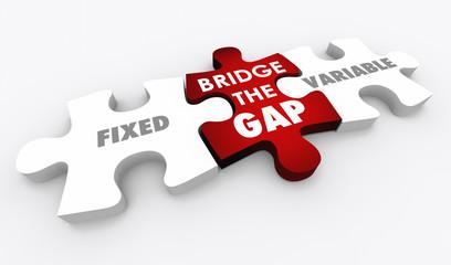 Fixed Vs Variable Costs Bridge Gap Puzzle 3d Illustration