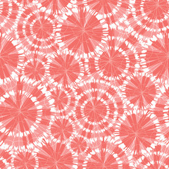 Vector coral pink shibori circle wheels overlap seamless pattern. With spiderweb detail. Suitable for textile, gift wrap and wallpaper.