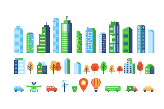 Smart city elements with modern buildings and network connection for graphics design.