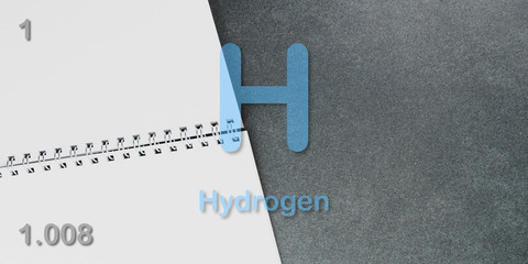 Hydrogen chemical element  physics and chemistry illustration backdrop