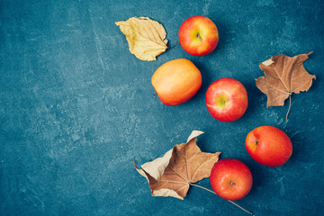 Autumn harvest background with red apples and fall leaves over blackboard. Top view from above