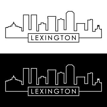 Lexington city skyline. Linear style. Editable vector file.