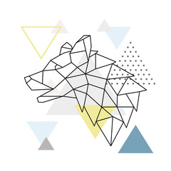 Geometric Wolf silhouette on triangle background. Polygonal emblem. Side view. Scandinavian background. Vector illustration.