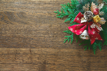 Christmas natural flat lay background with blank space for a greeting text