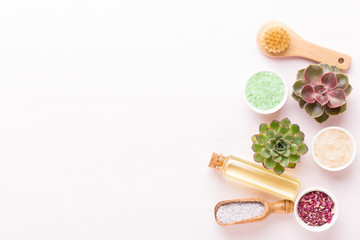 Spa background with handmade bio cosmetic and  cactus composition, flat lay, space for a text - Image.