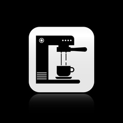 Black Coffee machine and coffee cup icon isolated on black background. Silver square button. Vector Illustration