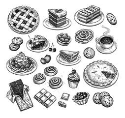 Fototapeta Ink sketch of desserts. obraz