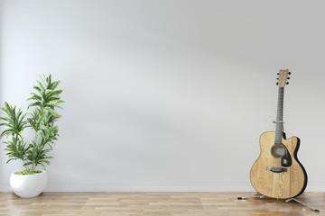 Empty room zen minimal design with guitar and plants on floor wooden empty room .3D rendering