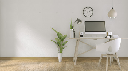 computer with blank screen  and decoration in office room mock up background.3D rendering Wall mural