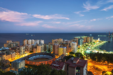 Night view of the Malaga from the Gibralfaro viewpoint, Andalusia, Spain