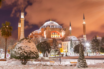 Hagia Sophia winter time at night Wall mural