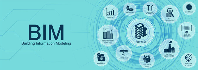 Building Information Modeling (BIM) concept web banner with Key aspects of the BIM industry with icons on a nice blue background. Web site vector illustration Wall mural