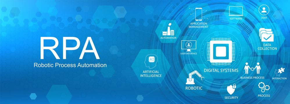 Robotic process automatisation (RPA) concept web banner with Key aspects of the RPA, industry with icons on a nice blue background. Robotic process automatisation Vector illustration