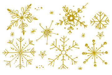 Set of gold watercolor snowflakes isolated on white background.