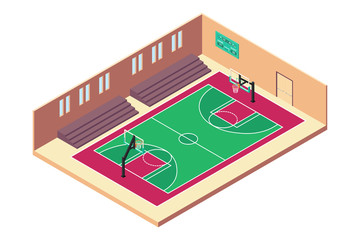 Isometric Basketball Indoor Court Illustration