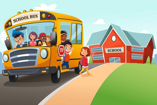 School Kids Getting Off The School Bus Illustration
