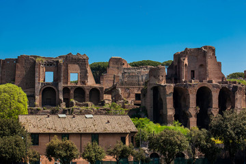 Temple of Apollo Palatinus on Palatine Hill of ancient Rome and Circus Maximus