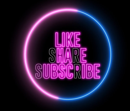 "Text of ""LIKE, SHARE, SUBSCRIBE"" inside neon colorful circle. Social media animation."