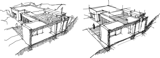 hand drawn architectural sketches of cross section through a modern detached house