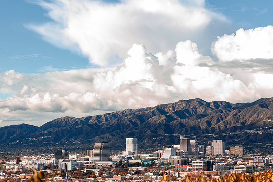 downtown glendale california skyline with san gabriel national forest