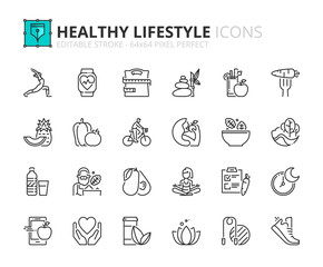 Outline icons about healthy lifestyle