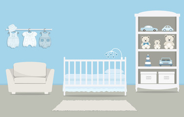 Kid's room for a newborn baby. Interior bedroom for a baby boy in a blue color. There is a cot, a wardrobe with toys, armchair, baby clothes and other things in the picture. Vector illustration