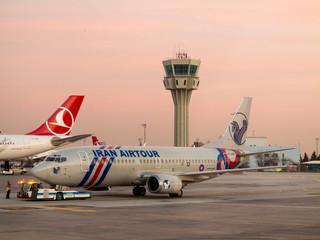 Iran Air Tours jet on the tarmac in Istanbul, Turkey.