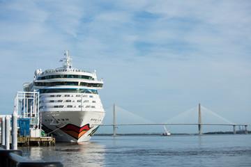 The Aida Luna comes into port in Charleston, South Carolina. Aida is a German cruise line.