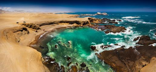 Rocky beach in Summer in Huarmey, Ancach region, Peru.