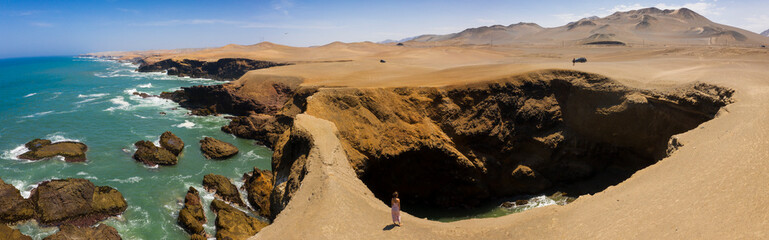 Geological formation in the summer place  of Huarmey, Ancash region, Peru.