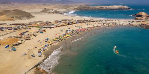 Panoramic aerial view of Pocitas beach in Huarmey, North of Lima, Peru