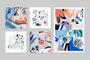 Creative universal artistic floral cards. Trendy Graphic Design for banner, poster, cover, invitation, placard, brochure, header. Art collage
